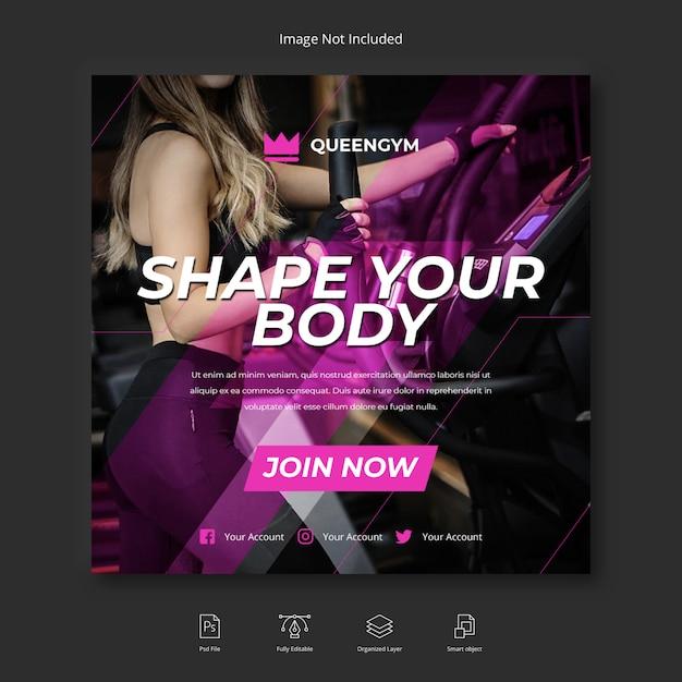 Спорт фитнес и тренажерный зал социальные медиа instagram пост или квадратный флаер шаблон Premium Psd