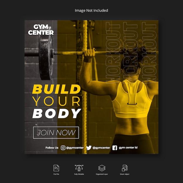 Женщина фитнес тренажерный зал социальные медиа instagram пост или квадратный флаер шаблон Premium Psd