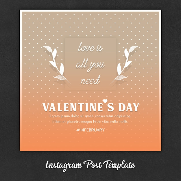 Шаблоны постов в instagram на день святого валентина Premium Psd