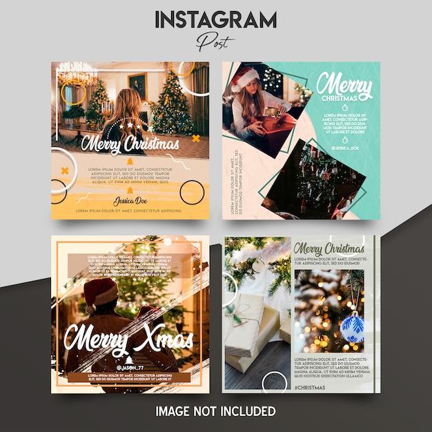 Рождественский набор шаблонов instagram Premium Psd
