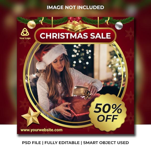 Новогодняя распродажа поста в instagram Premium Psd