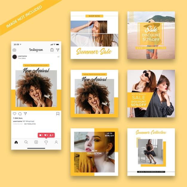 Модный пост instagram шаблон поста Premium Psd
