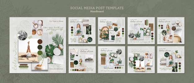Instragram posts templates with relaxing time Free Psd