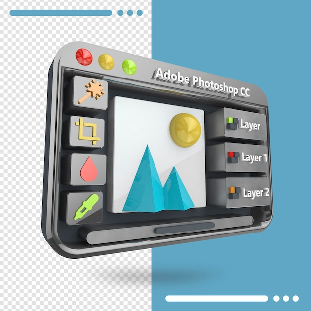 Interface adobe photoshop 3d rendering