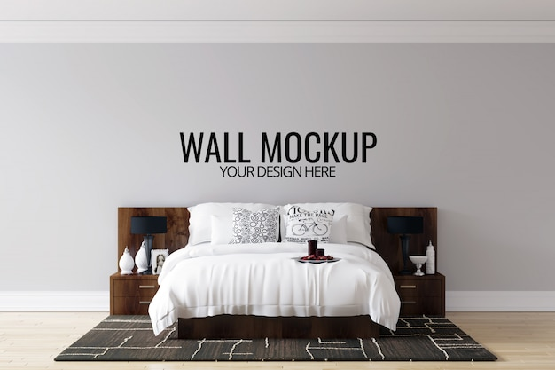 Interior bedroom wall background mock up Premium Psd
