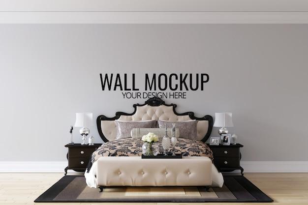 Interior bedroom wall background mock up Premium Psd