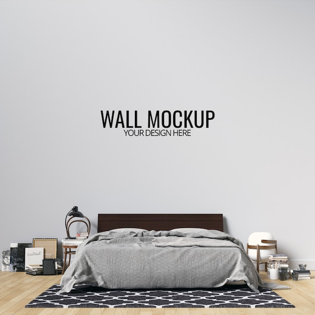 Interior bedroom wall background mockup Premium Psd