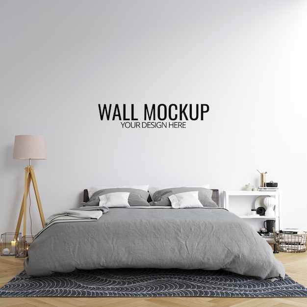 Interior bedroom wall mockup background Premium Psd