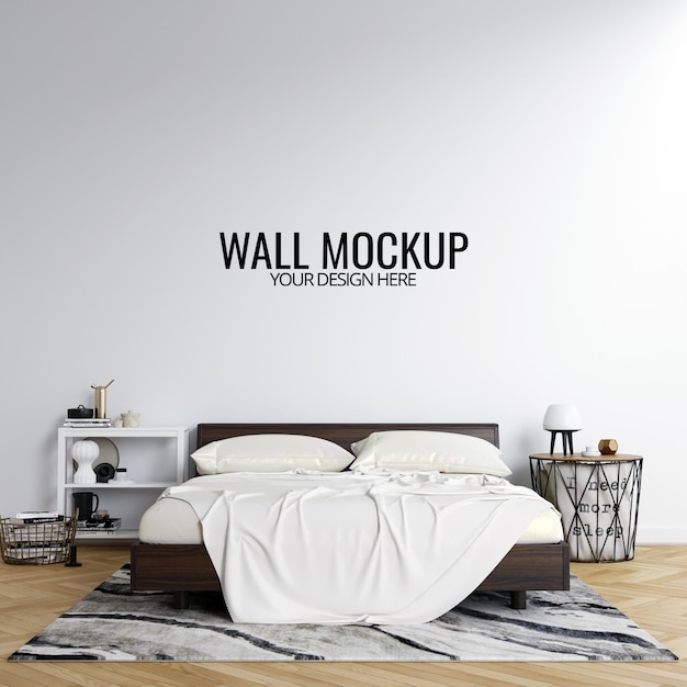 Interior bedroom wall mockup background Premium Psd