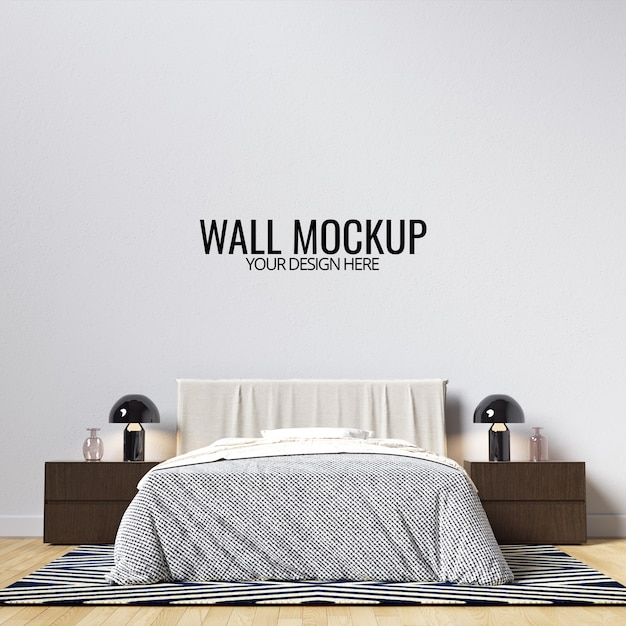 Interior bedroom wall mockup Premium Psd