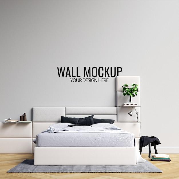 Interior bedroom wall  mockup Premium Psd