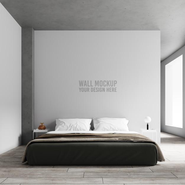 インテリアの寝室の壁のモックアップ Premium Psd