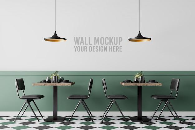 Interior cafe wall mockup Premium Psd