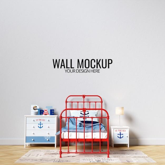 Interior children bedroom wall mockup Premium Psd