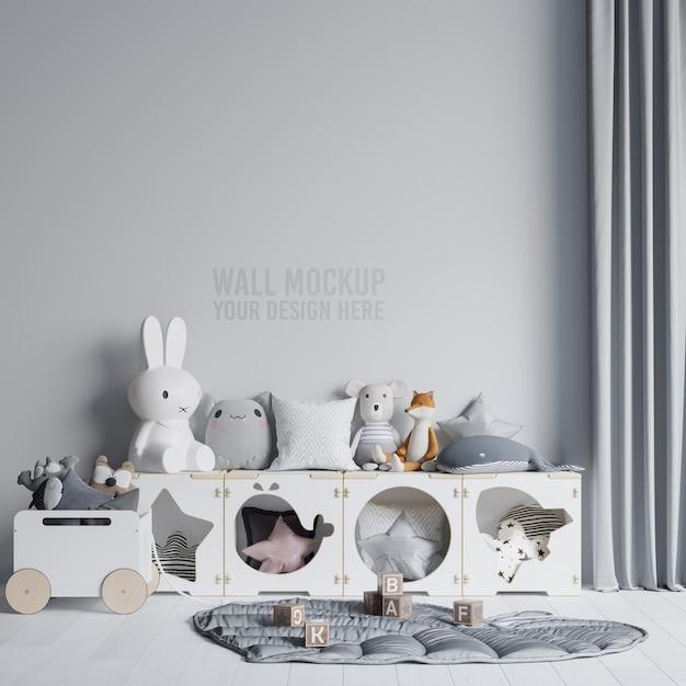 インテリア子供部屋の壁紙モックアップ Premium Psd