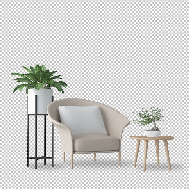 Interior decoration set in in 3d rendering Premium Psd