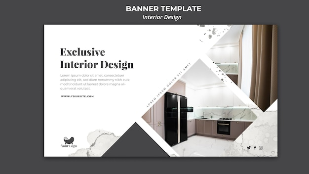 Interior design ad banner template Free Psd