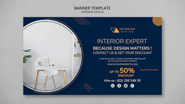 Interior design horizontal banner Free Psd