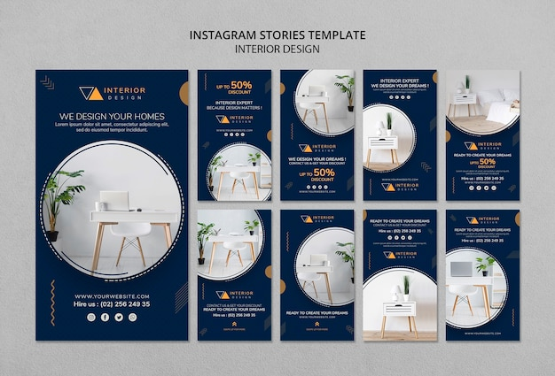 Interior design instagram stories template Free Psd