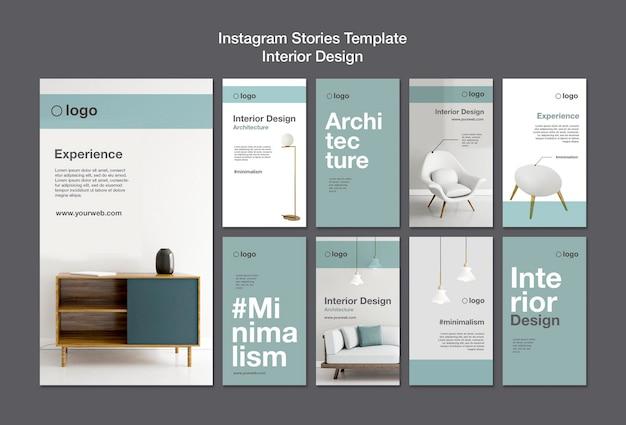 Interior design instagram stories template Free Psd