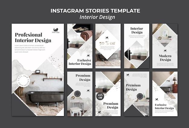 Interior design instagram stories template Premium Psd
