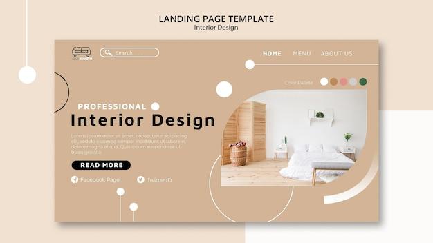 Modello di pagina di destinazione di interior design Psd Gratuite