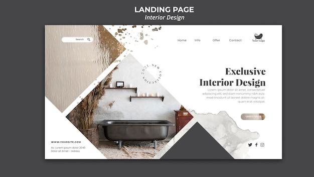 Interior design landing page template Premium Psd