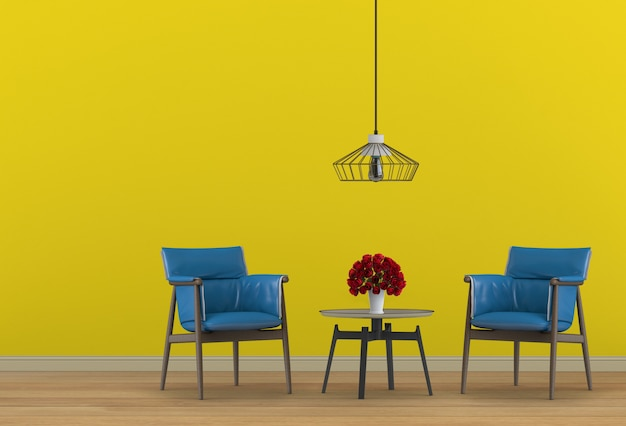 Interior design for living area with armchair. 3d render Premium Psd