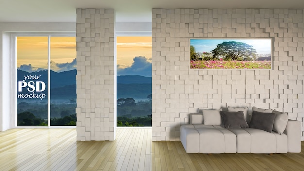 Interior Design Living Room With Frame Mockup And View Mockup Premium Psd
