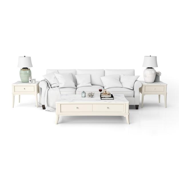 白い家具付きのリビングルームのインテリアデザインのモックアップ 無料 Psd