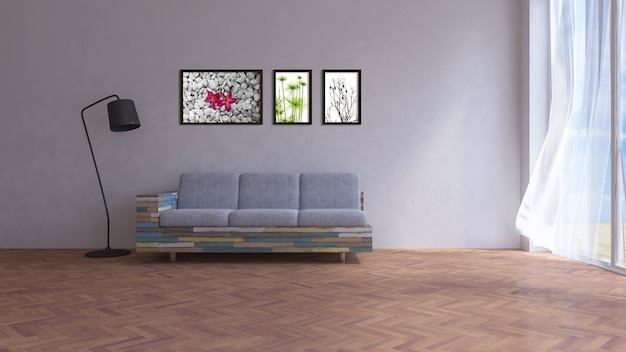 Interior design mockup with couch Premium Psd