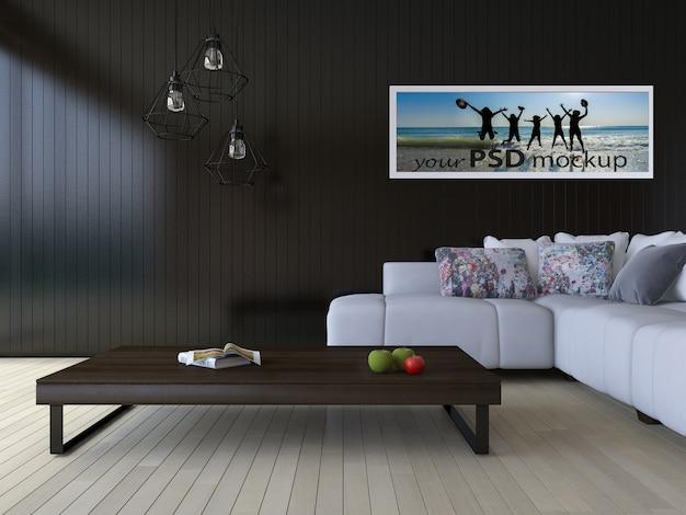 demo 24 & Interior design mockup with modern living room PSD file | Premium ...