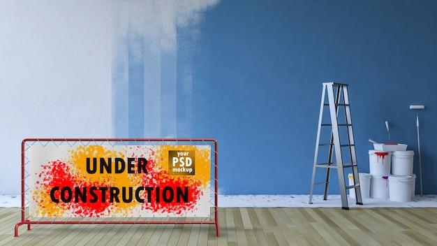 Interior design mockup with painting concept Premium Psd