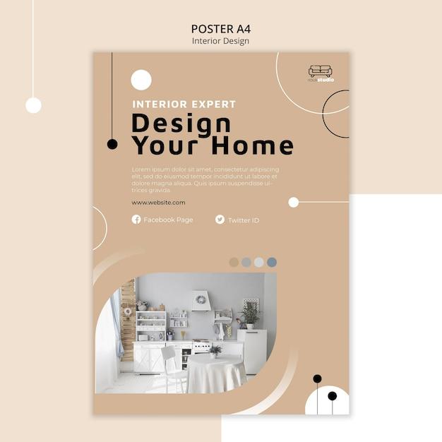 Modello di poster di interior design Psd Gratuite