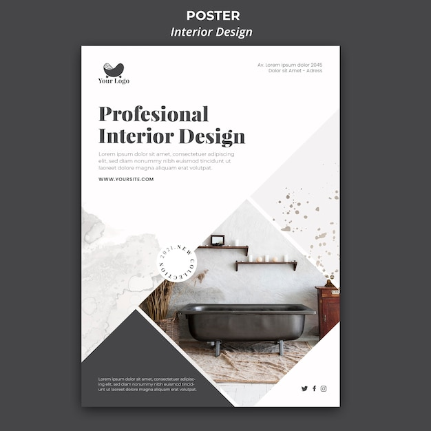 Interior design poster template Free Psd