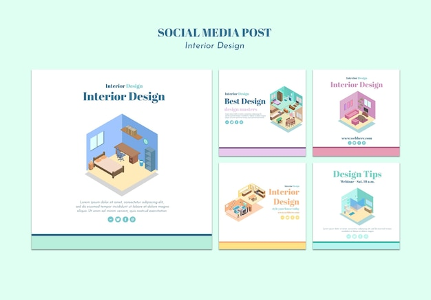 인테리어 디자인 소셜 미디어 게시물 템플릿 무료 PSD 파일