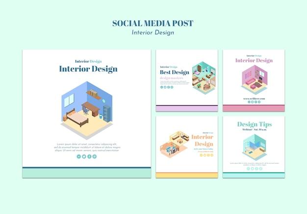 Interior design social media post template Free Psd