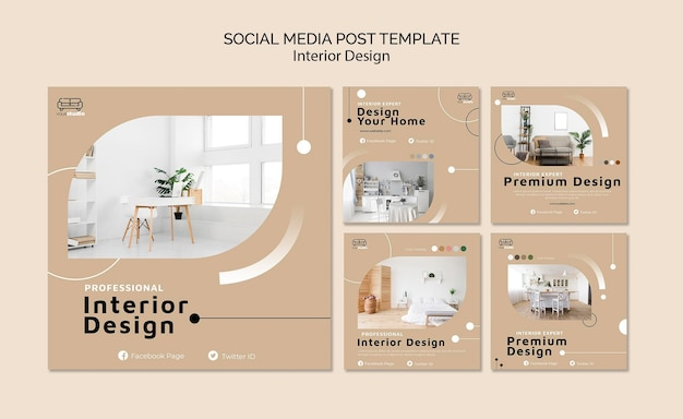 Interior design social media post template Premium Psd