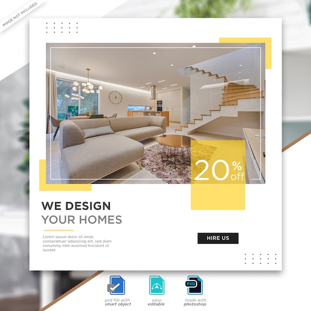 Interior design social media posts template premium psd Premium Psd