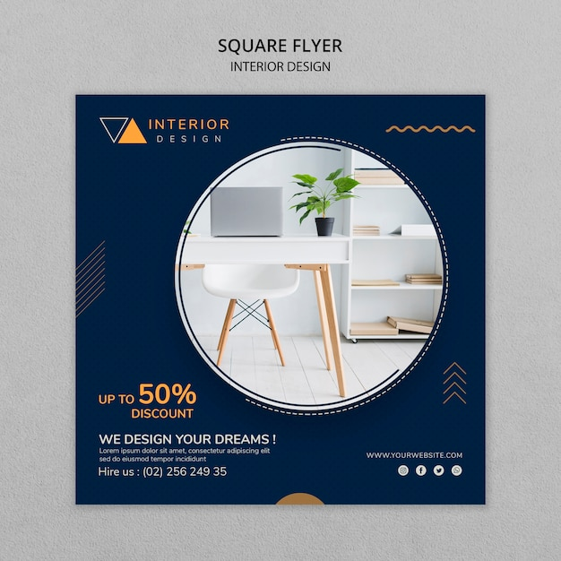 Interior Design Square Flyer With Photo Free Psd File