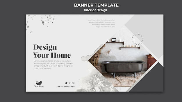 Interior design template banner Free Psd