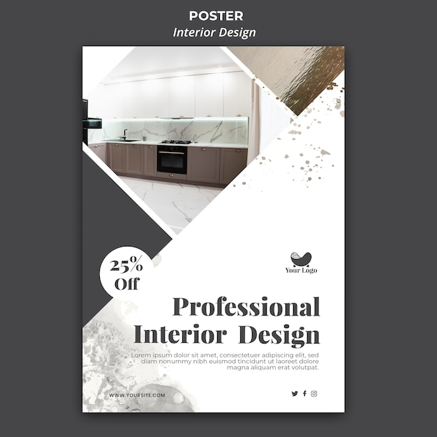インテリアデザインテンプレートポスター 無料 Psd