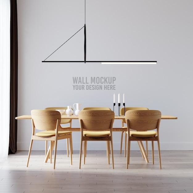 Interior dining room wallpaper mockup Free Psd