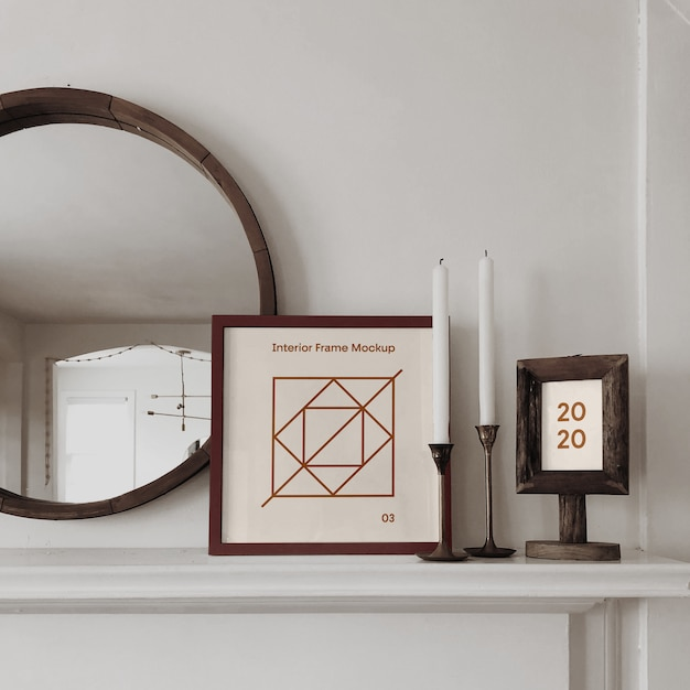 Interior frame psd mockup Premium Psd