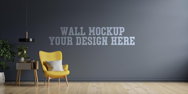 The interior has a sofa and armchair on empty dark wall background,3d rendering Premium Psd