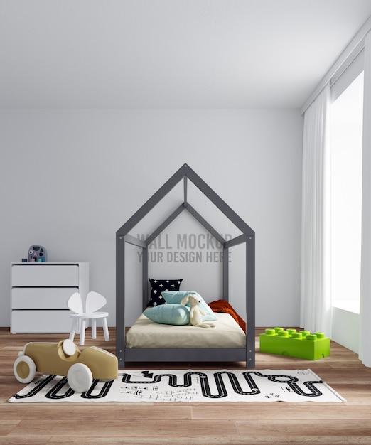 インテリアの子供の寝室の壁のモックアップ Premium Psd