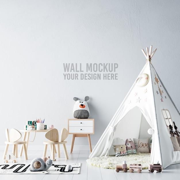 Interior kids room wallpaper mockup Premium Psd