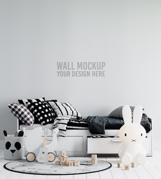 Интерьер детской комнаты, макет обоев Premium Psd
