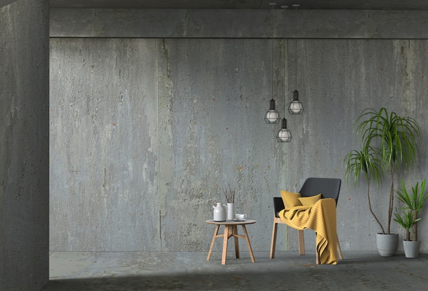 Interior living concrete wall room with chair Premium Psd