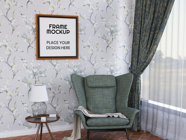 Интерьер гостиной, фоторамка, макет Premium Psd